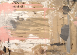 """Support, Paper, Ink, Acrylic and Gesso on panel 60"""" x 84"""" Collection of the Savannah College of Art and Design"""