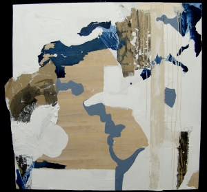 """Hydro Chasm, Acrylic, Graphite, Paper on Panel 48"""" x 48"""""""