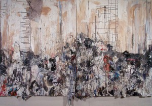 """I Will Show You Fear in a Handful of Dust, Mixed Media, 60"""" x 96"""" 2012 Collection of Adrian Marullier"""