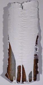 """Found Metal Adjusted 2, aluminum, gesso 26"""" x 6"""", 2012"""
