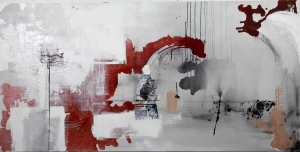 "Contract, Acrylic, paper and ink on canvas, 36"" x 72"" 2012"