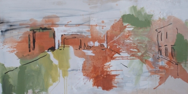 Stretch, 36 x 72 Ink and Acrylic on Canvas 2015